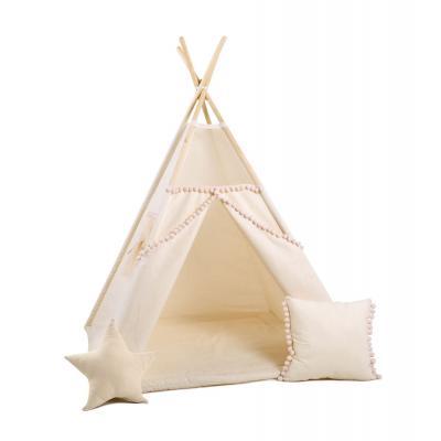 Namiot tipi dla dzieci, bawełna, okienko, poduszka, kuleczkowa mgiełka