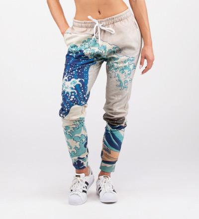 spodnie z kieszeniami z motywem wzburzonego morza