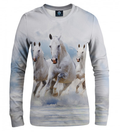white sweatshirt with horses motive