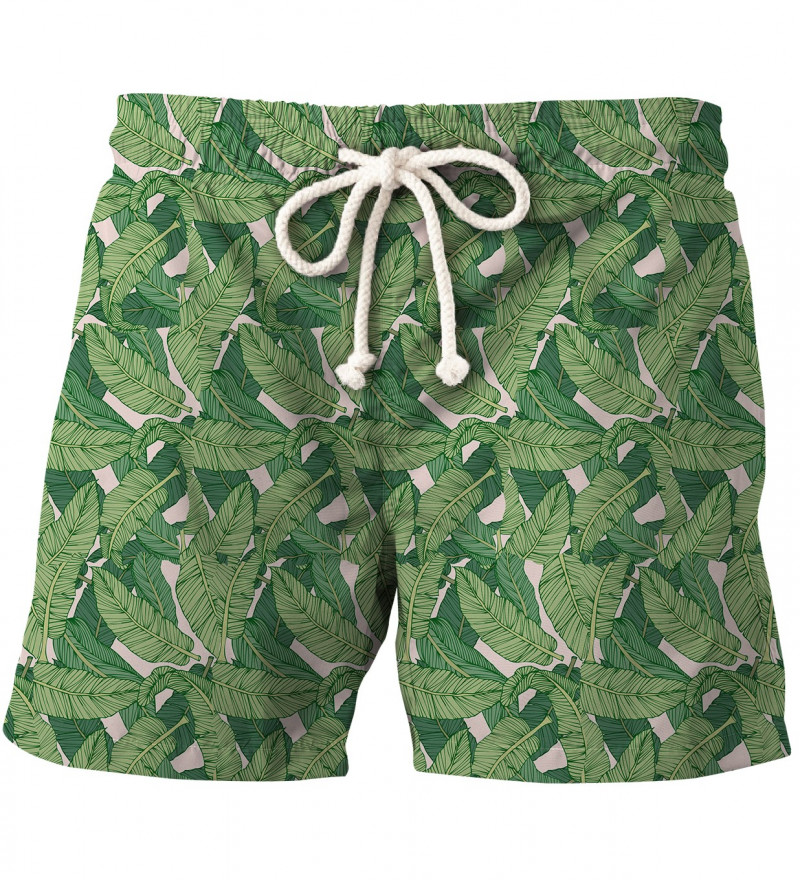 shorts with green leaves motive