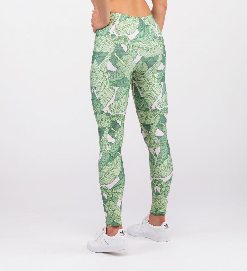 leggings with green leaves motive