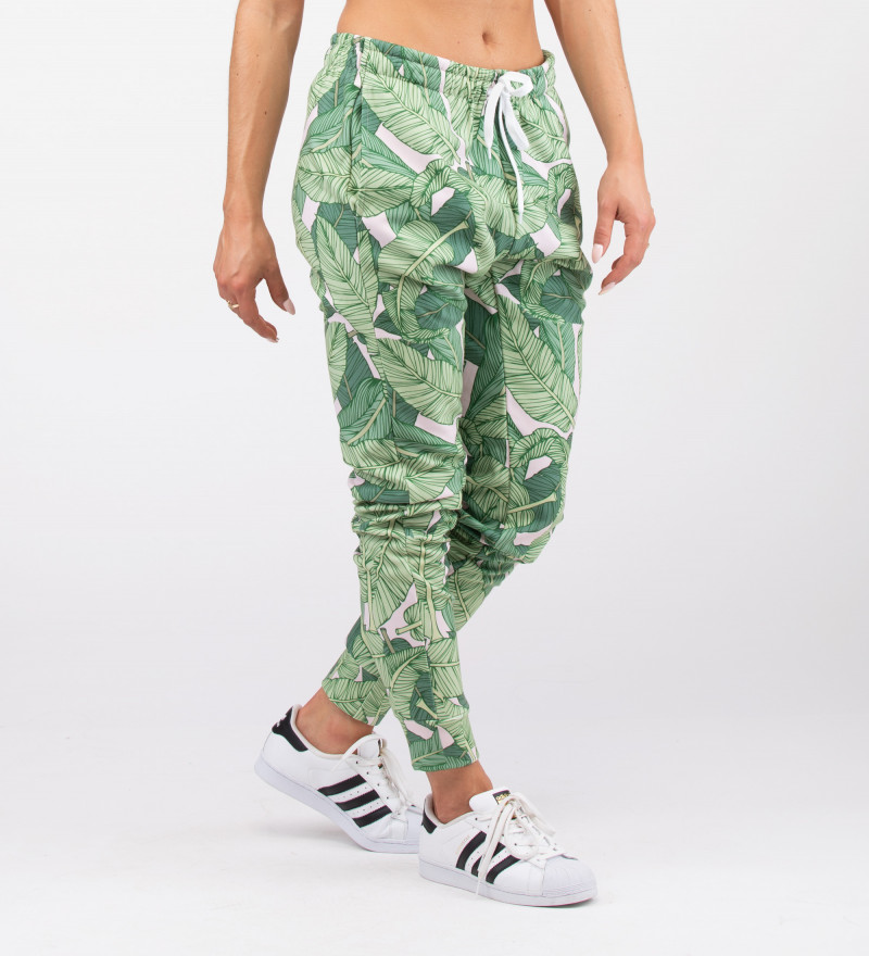 sweatpants with green leaves motive