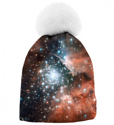 printed beanie with galaxy motive