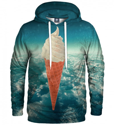 niebieska bluza z kapturem z motywem lodów