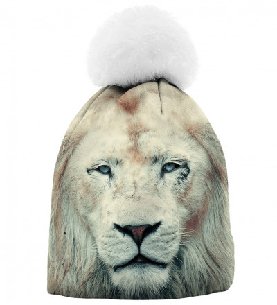 printed beanie with lion motive