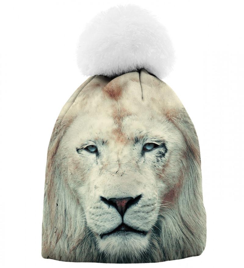 printowana czapka z motywem lwa