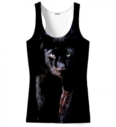 black tank top with panther motive