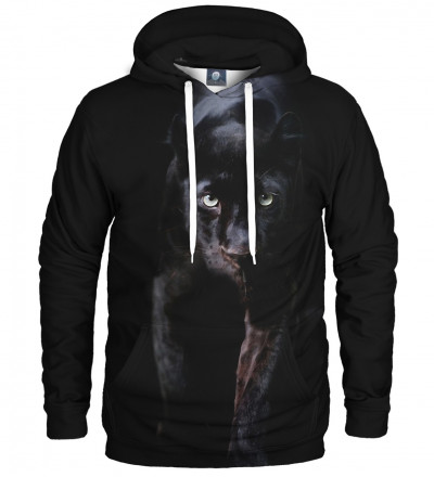black hoodie with panther motive