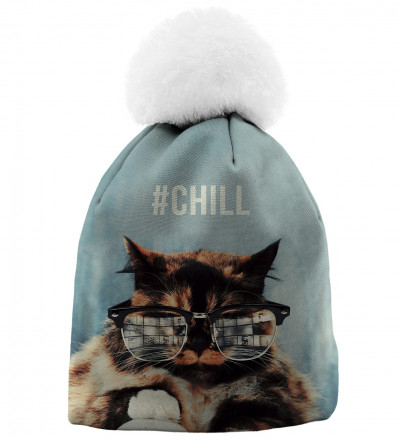 printed blue beanie with cat motive