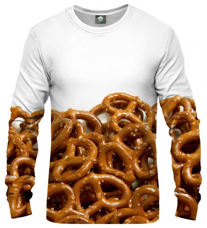 white sweatshirt with pretzells motive