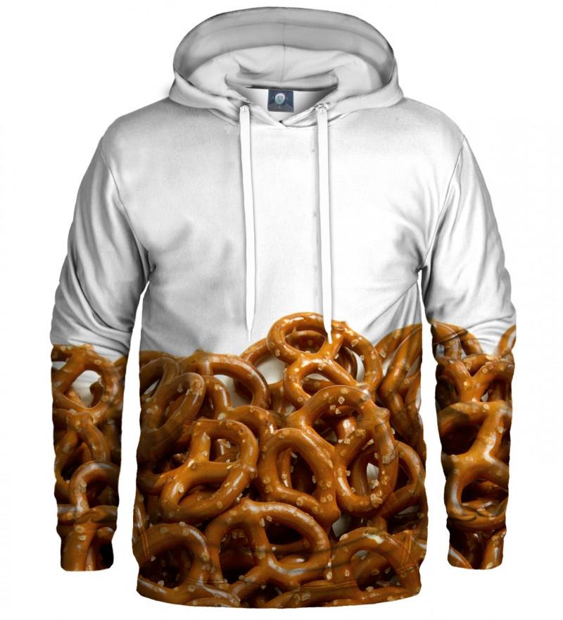 white hoodie with pretzells motive