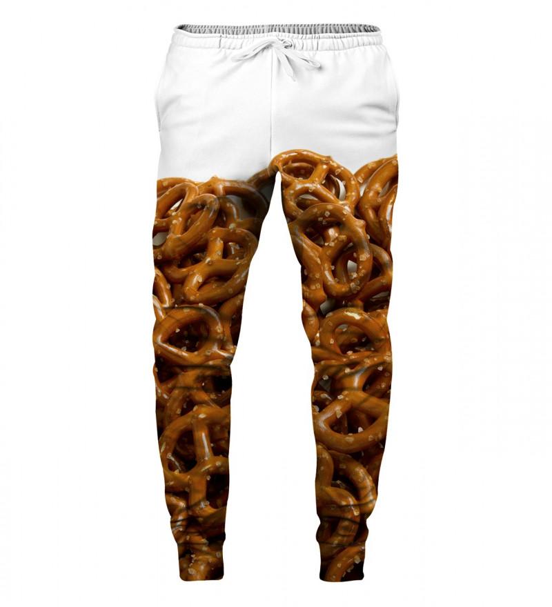 white sweatpants with pretzells motive