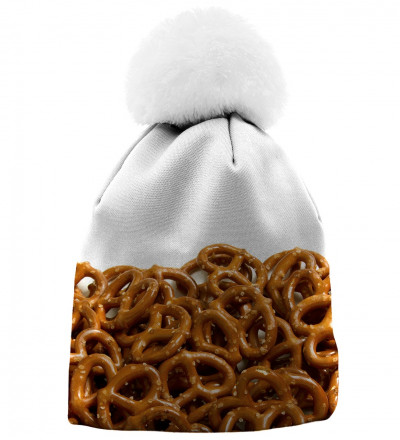 white beanie with pretzells motive
