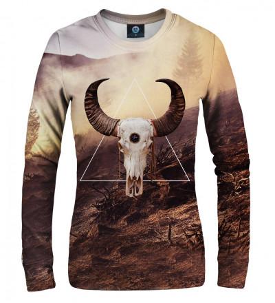 brown sweatshirt with goat motive