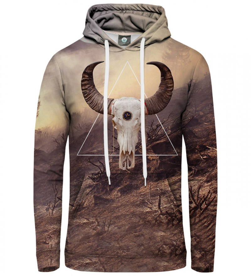 brown hoodie with goat motive