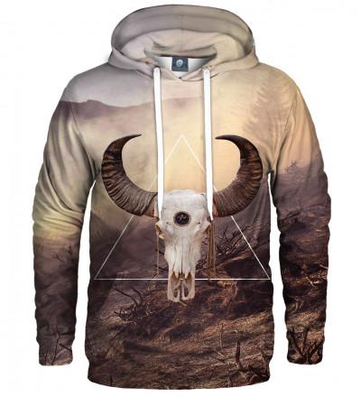 brązowa bluza z kapturem z motywem kozy