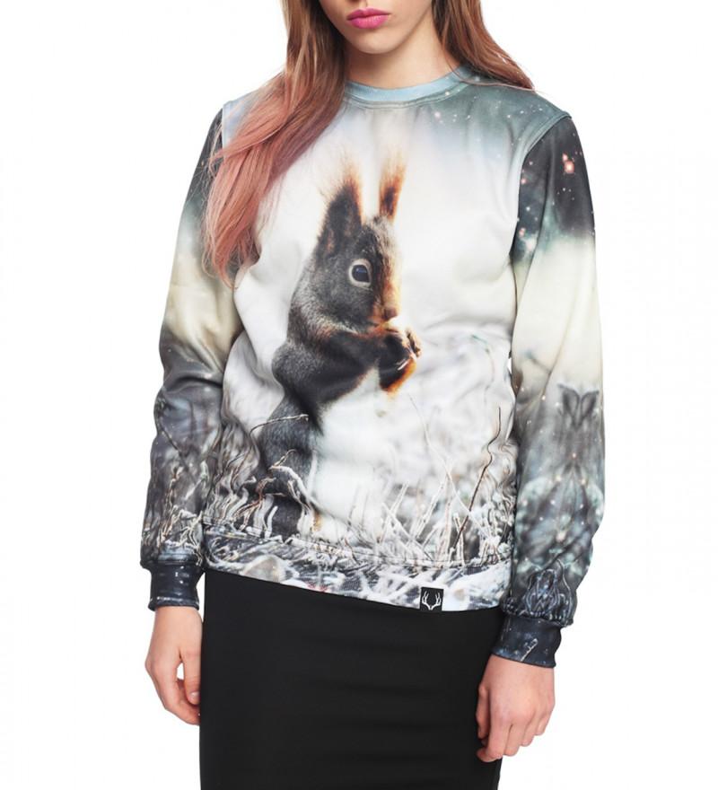 sweatshirt with squirrel motive
