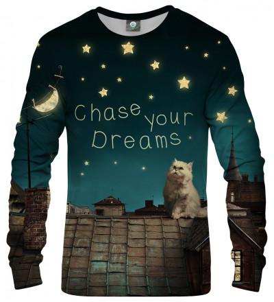 sweatshirt with cat on roof motive