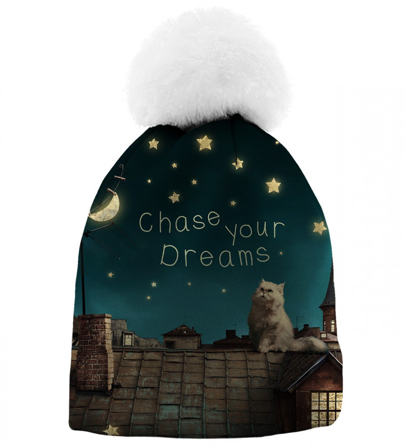printed beanie with cat on roof motive