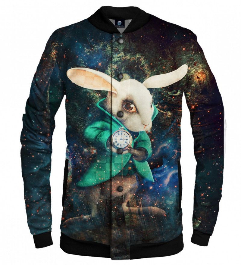 baseball jacket with rabbit from alice in wonderland