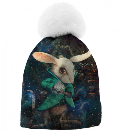 printed beanie wit rabbit from alice in wonderland
