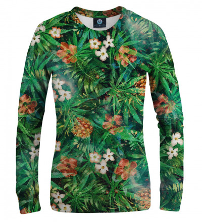 Green sweatshirt with leaves motive