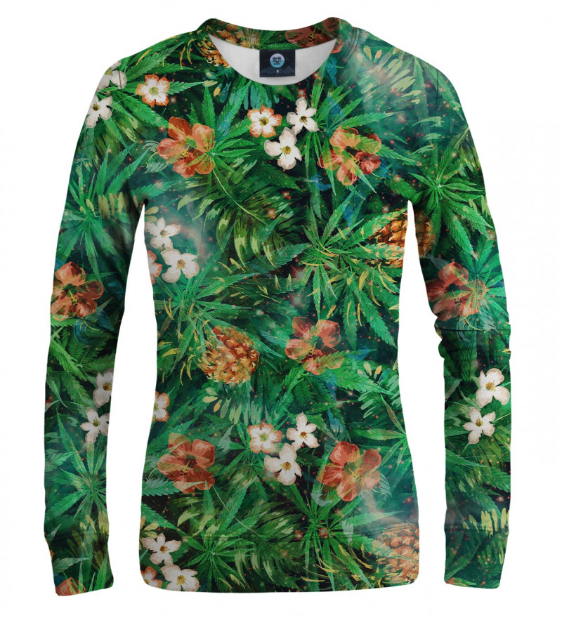 zielona bluza z motywem liści