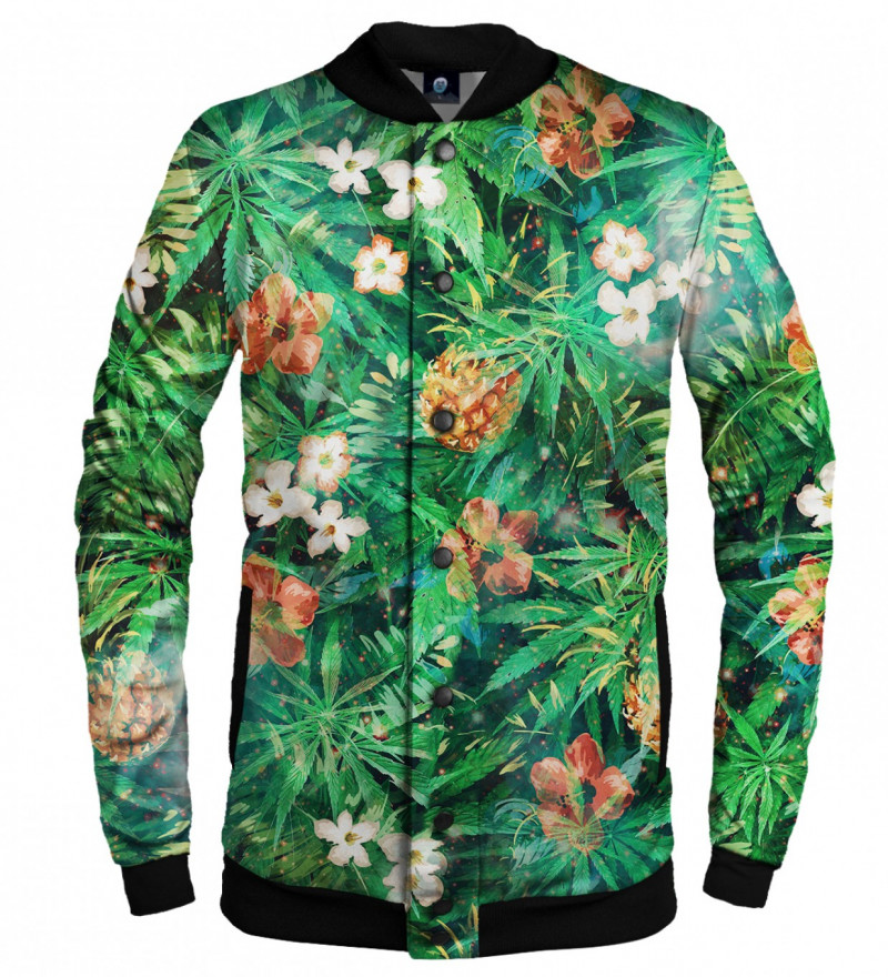 green baseball jacket with leaves