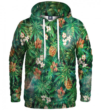 green hoodie with leaves motive
