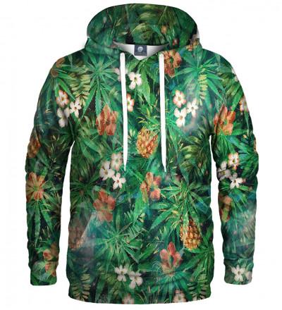 zielona bluza z kapturem z motywem liści