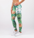 zielone legginsy z motywem liści