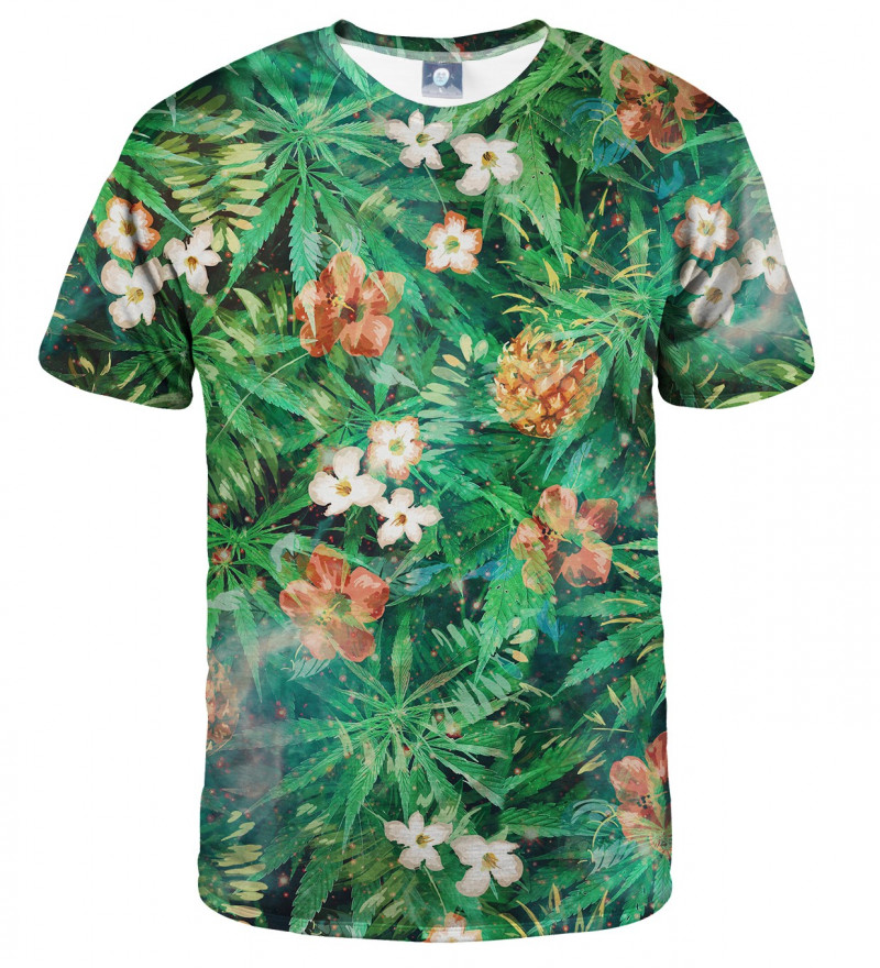 green tshirt with leaves motive