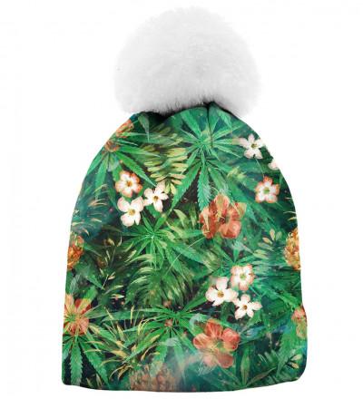 zielona printowana czapka z motywem liści