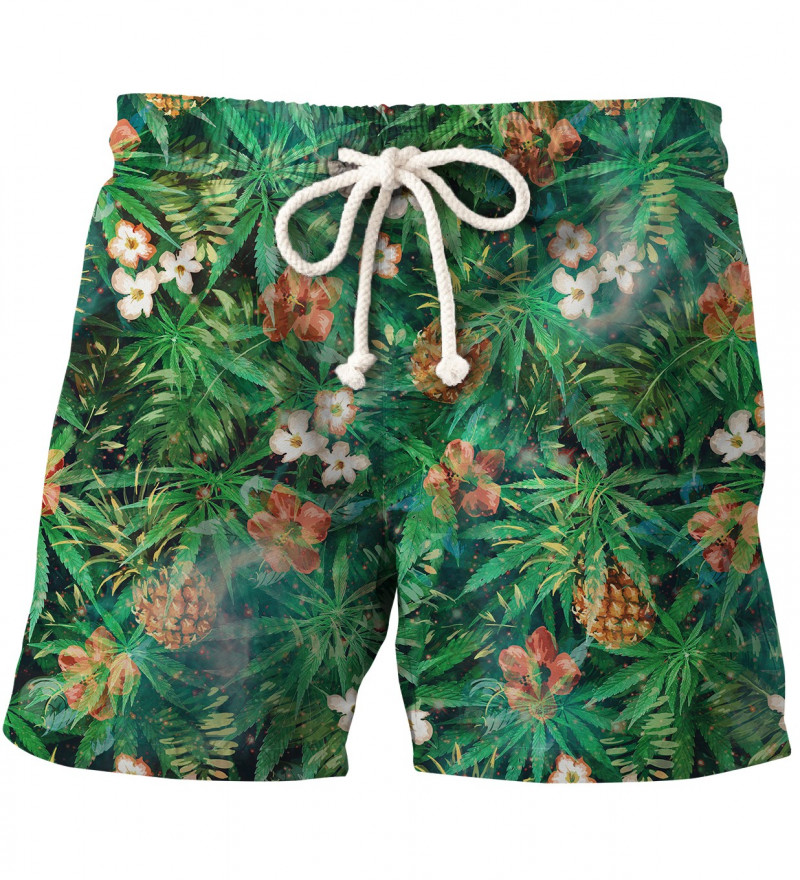 green shorts with leaves motive