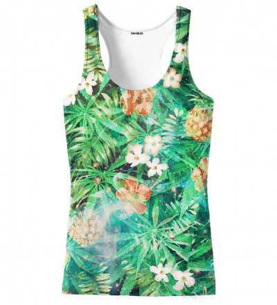 green top with leaves motive