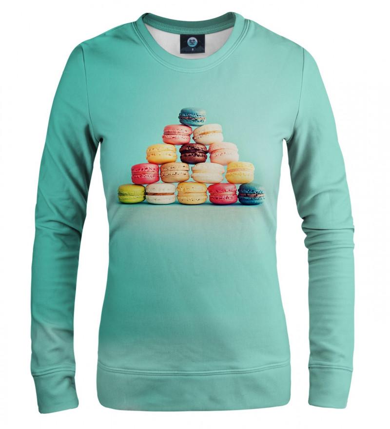 turkusowa bluza z motywem ciasteczek makaroników