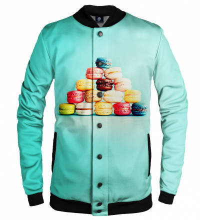 turquise baseball jacket with macarons motive