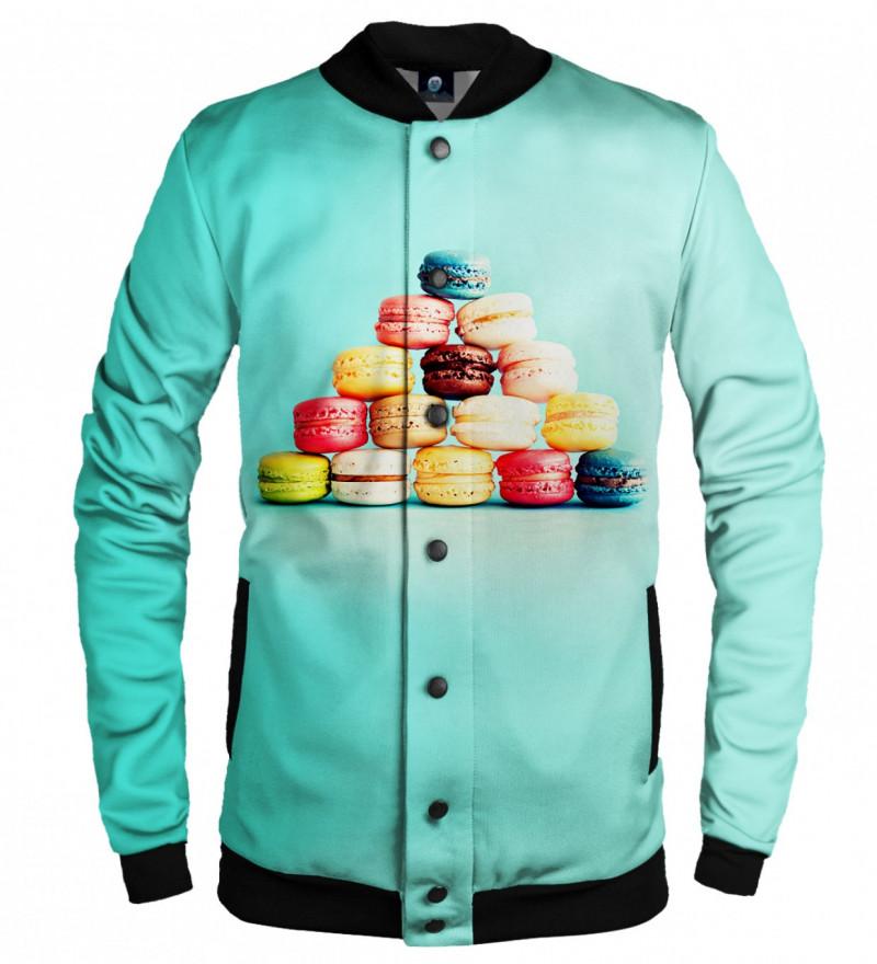 turquise baseball jacket with macarons motive