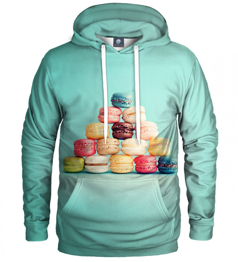 turquise hoodie with macarons motive