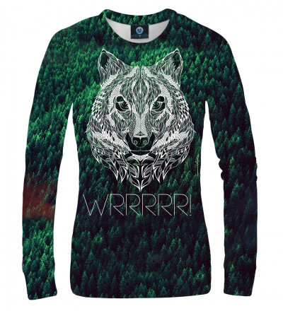 green sweatshirt with WRRR inscription and wolf