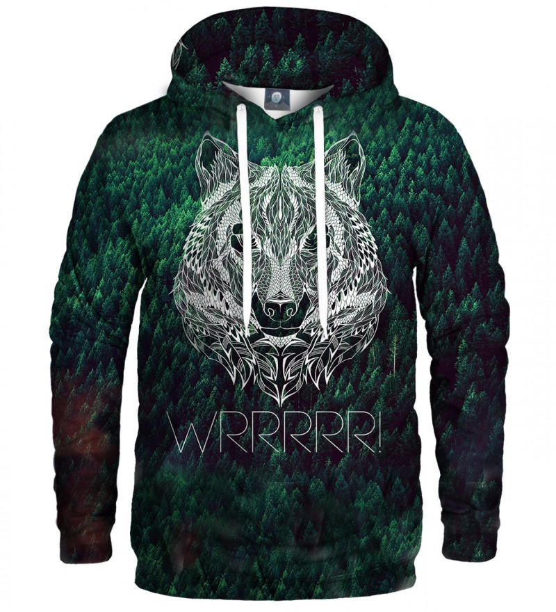 green hoodie with wrrr inscription and wolf motive