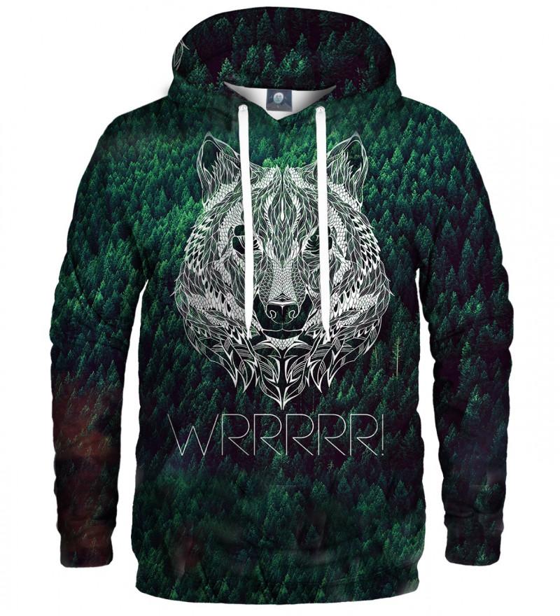 zielona bluza z kapturem z napisem wrrr i wilkiem