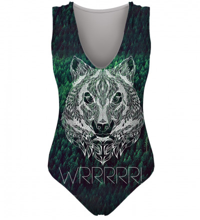 green swimsuit with wrrr inscription and wolf