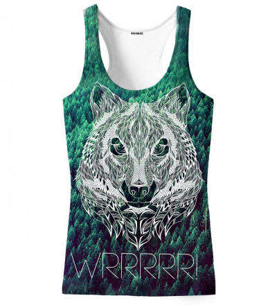green tank top with wrrr inscription and wolf motive