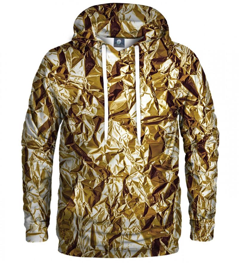 bluza z kapturem z imitacją złota