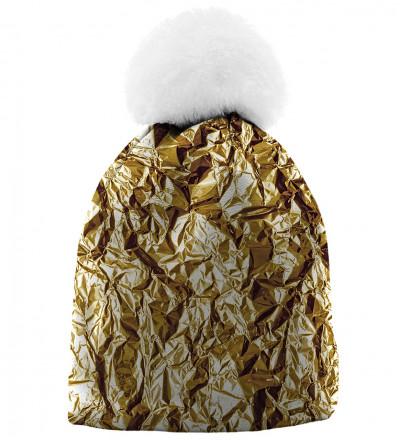 printowana czapka z imitacją złota