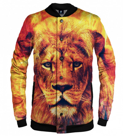 orange baseball jacket with lion