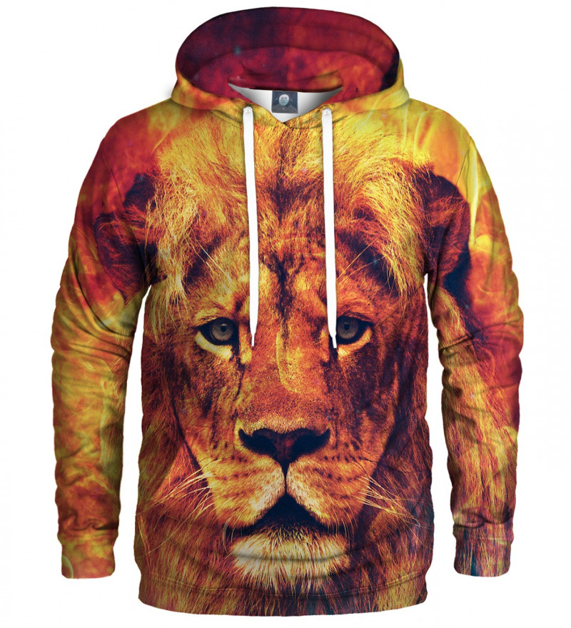 orange hoodie with lion