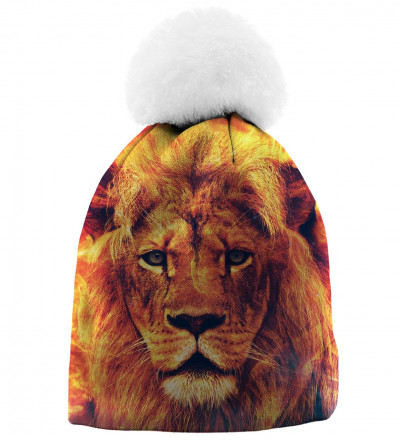 orange printed beanie with lion