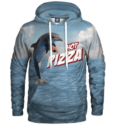 blue hoodie with dolphin and pizza motive